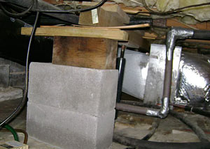 a poorly designed crawl space support system installed in a Post Falls home