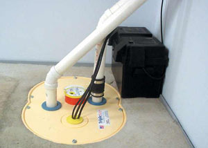Colbert installation of a submersible sump pump system