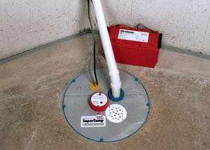 A sump pump system with a battery backup system installed in Athol