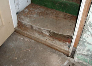 A flooded basement in Newman Lake where water entered through the hatchway door