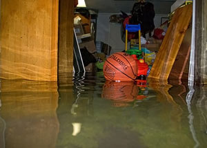 A flooded basement bedroom in Kellogg