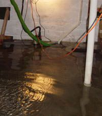 Several feet of floodwaters in a Loon Lake basement