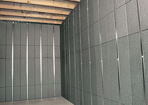 SilverGlo™ insulation and metal studs making up our Basement to Beautiful panels.  Installed in Hayden.